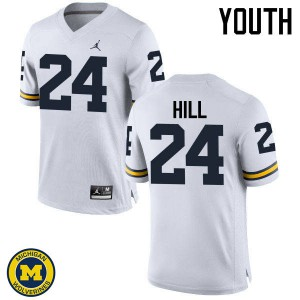 Michigan Wolverines #24 Lavert Hill Youth White College Football Jersey 649026-725