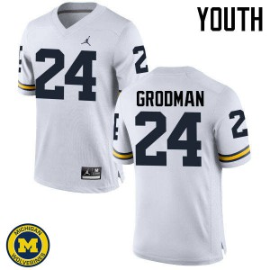 Michigan Wolverines #24 Louis Grodman Youth White College Football Jersey 925820-757
