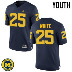 Michigan Wolverines #25 Brendan White Youth Navy College Football Jersey 209734-892
