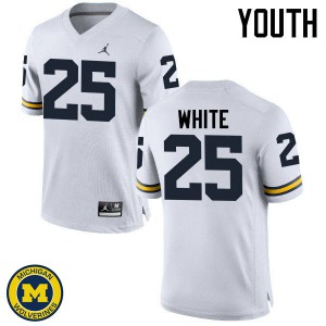 Michigan Wolverines #25 Brendan White Youth White College Football Jersey 576087-734