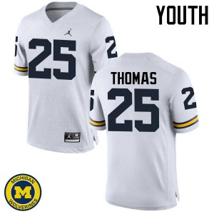 Michigan Wolverines #25 Dymonte Thomas Youth White College Football Jersey 356660-473