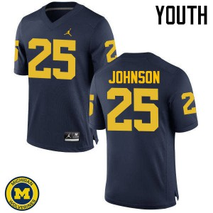 Michigan Wolverines #25 Nate Johnson Youth Navy College Football Jersey 451927-291