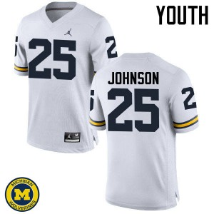 Michigan Wolverines #25 Nate Johnson Youth White College Football Jersey 632988-225
