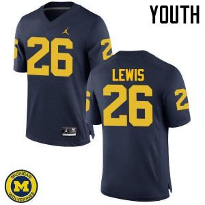 Michigan Wolverines #26 Jourdan Lewis Youth Navy College Football Jersey 339155-600