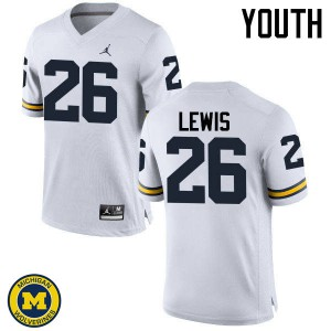Michigan Wolverines #26 Jourdan Lewis Youth White College Football Jersey 412845-426