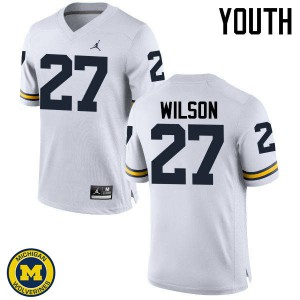Michigan Wolverines #27 Tru Wilson Youth White College Football Jersey 339494-558