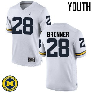 Michigan Wolverines #28 Austin Brenner Youth White College Football Jersey 493500-805