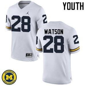 Michigan Wolverines #28 Brandon Watson Youth White College Football Jersey 470469-551