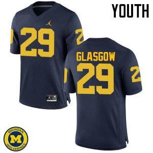 Michigan Wolverines #29 Jordan Glasgow Youth Navy College Football Jersey 707875-754