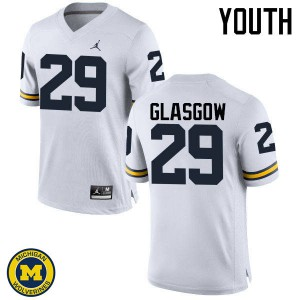 Michigan Wolverines #29 Jordan Glasgow Youth White College Football Jersey 452120-777