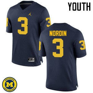 Michigan Wolverines #3 Quinn Nordin Youth Navy College Football Jersey 155974-977