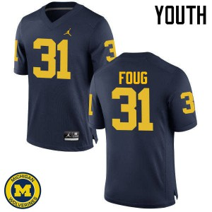 Michigan Wolverines #31 James Foug Youth Navy College Football Jersey 895107-928