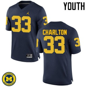 Michigan Wolverines #33 Taco Charlton Youth Navy College Football Jersey 187497-259