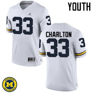 Michigan Wolverines #33 Taco Charlton Youth White College Football Jersey 587163-957