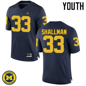 Michigan Wolverines #33 Wyatt Shallman Youth Navy College Football Jersey 236671-595