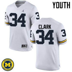 Michigan Wolverines #34 Jeremy Clark Youth White College Football Jersey 560299-753