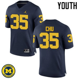 Michigan Wolverines #35 Brian Chu Youth Navy College Football Jersey 586625-345