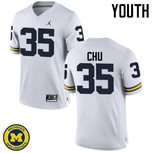 Michigan Wolverines #35 Brian Chu Youth White College Football Jersey 782301-692