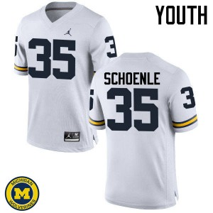 Michigan Wolverines #35 Nate Schoenle Youth White College Football Jersey 825074-266