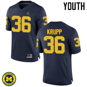 Michigan Wolverines #36 Taylor Krupp Youth Navy College Football Jersey 421336-617