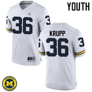 Michigan Wolverines #36 Taylor Krupp Youth White College Football Jersey 884190-964