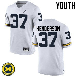 Michigan Wolverines #37 Bobby Henderson Youth White College Football Jersey 723731-832