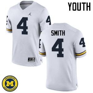 Michigan Wolverines #4 De'Veon Smith Youth White College Football Jersey 191582-264