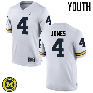 Michigan Wolverines #4 Reuben Jones Youth White College Football Jersey 858596-620