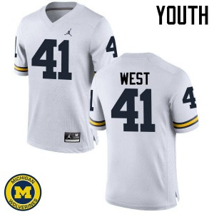 Michigan Wolverines #41 Jacob West Youth White College Football Jersey 721683-332