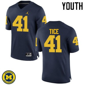 Michigan Wolverines #41 Ryan Tice Youth Navy College Football Jersey 842224-113