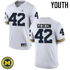 Michigan Wolverines #42 Ben Gedeon Youth White College Football Jersey 132923-505