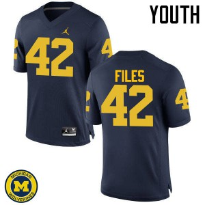 Michigan Wolverines #42 Joseph Files Youth Navy College Football Jersey 762060-729