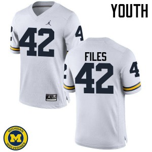 Michigan Wolverines #42 Joseph Files Youth White College Football Jersey 482128-324