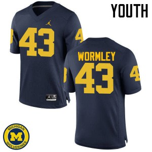 Michigan Wolverines #43 Chris Wormley Youth Navy College Football Jersey 539302-214