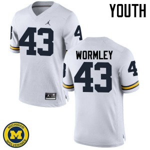 Michigan Wolverines #43 Chris Wormley Youth White College Football Jersey 463475-174