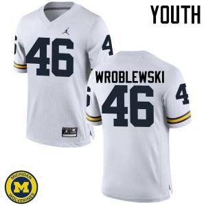 Michigan Wolverines #46 Michael Wroblewski Youth White College Football Jersey 273034-707