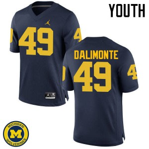 Michigan Wolverines #49 Anthony Dalimonte Youth Navy College Football Jersey 836702-833