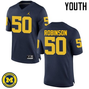 Michigan Wolverines #50 Andrew Robinson Youth Navy College Football Jersey 115487-214