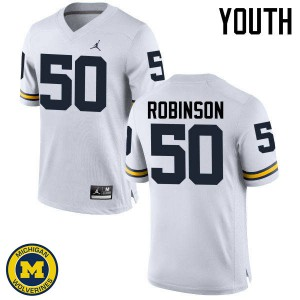 Michigan Wolverines #50 Andrew Robinson Youth White College Football Jersey 517031-176