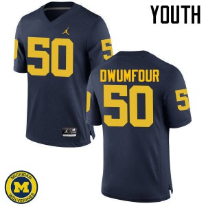 Michigan Wolverines #50 Michael Dwumfour Youth Navy College Football Jersey 986616-551