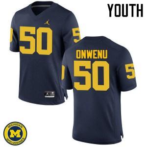 Michigan Wolverines #50 Michael Onwenu Youth Navy College Football Jersey 775408-428