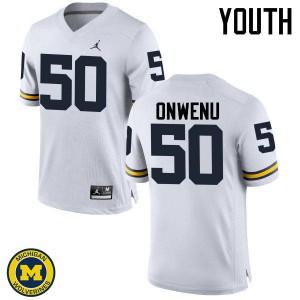 Michigan Wolverines #50 Michael Onwenu Youth White College Football Jersey 429316-623