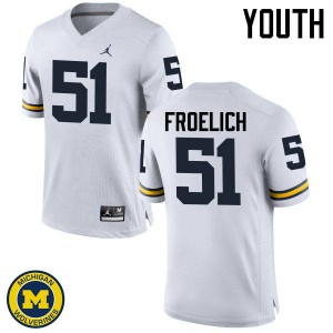 Michigan Wolverines #51 Greg Froelich Youth White College Football Jersey 787596-451