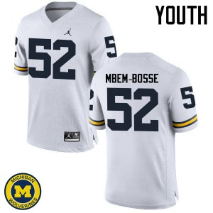Michigan Wolverines #52 Elysee Mbem-Bosse Youth White College Football Jersey 293638-167