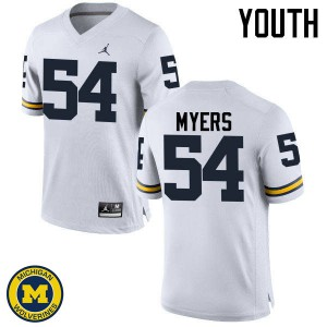 Michigan Wolverines #54 Carl Myers Youth White College Football Jersey 168648-175