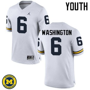 Michigan Wolverines #6 Keith Washington Youth White College Football Jersey 230869-744