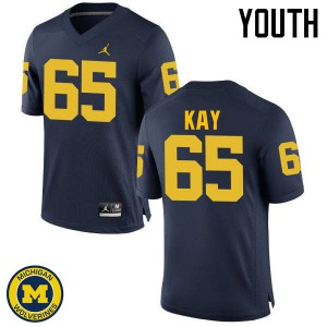 Michigan Wolverines #65 Anthony Kay Youth Navy College Football Jersey 341382-912