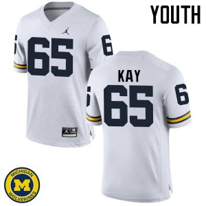 Michigan Wolverines #65 Anthony Kay Youth White College Football Jersey 916264-670