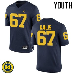 Michigan Wolverines #67 Kyle Kalis Youth Navy College Football Jersey 144770-565