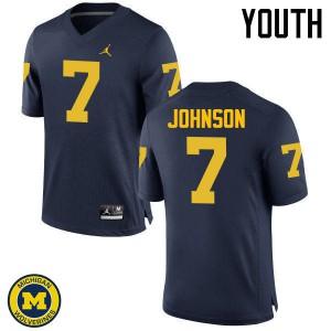 Michigan Wolverines #7 Shelton Johnson Youth Navy College Football Jersey 591987-336